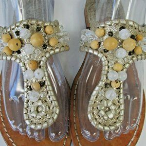 Jack Rogers Gold Beaded Thong Sandals Size 8.5M